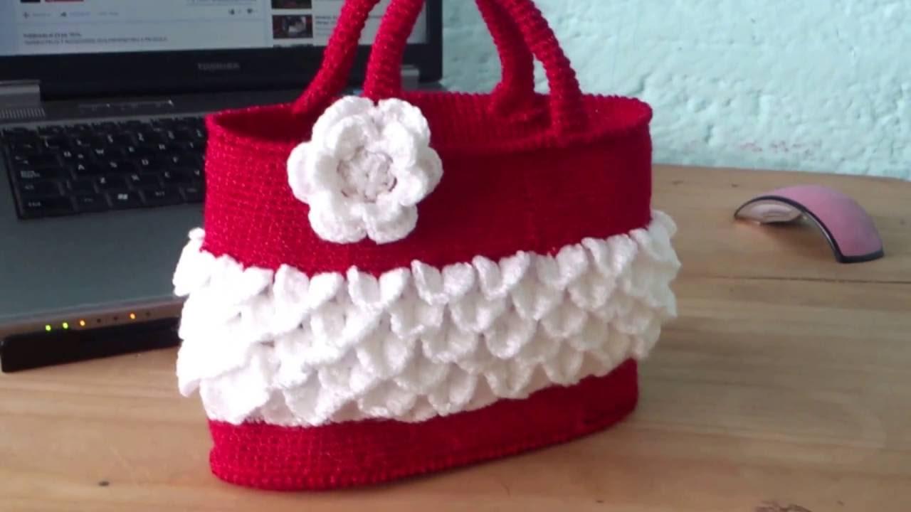 Bolso tejido a crochet para ni as youtube - Bolsos tejidos a crochet ...