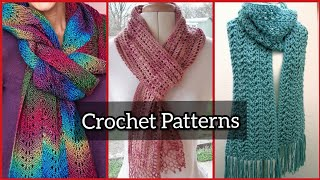 Crochet Lace Scarf Designs Patterns//Crochet Patterns For Lace Scarf