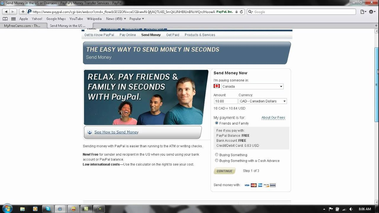 using paypal with just a credit card to send money - YouTube