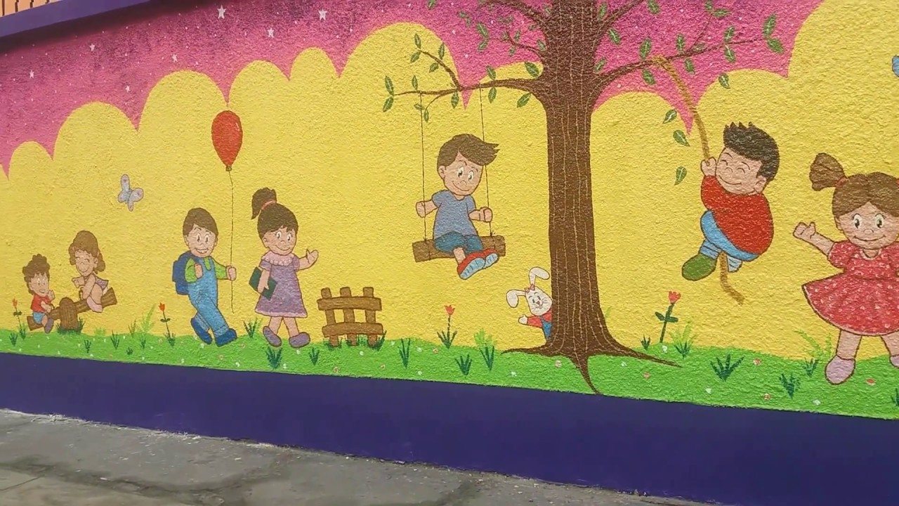 Mural infantil pintado a mano con dibujos de bebes jugando for Murales de tela para pared