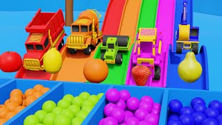 Monster Street Vehicles Sliding on Color Slides Play Time Video with Shapes and Colors