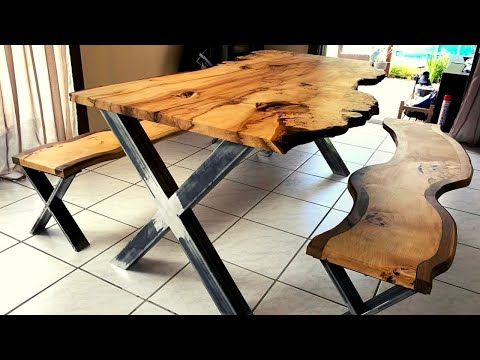 Rustic chestnut dining table with twisted chestnut/walnut benches - DIY