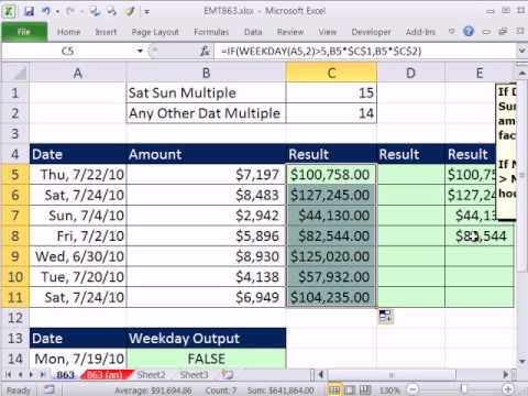 excel magic trick 863 if sat or sun multiply by 15 any other day