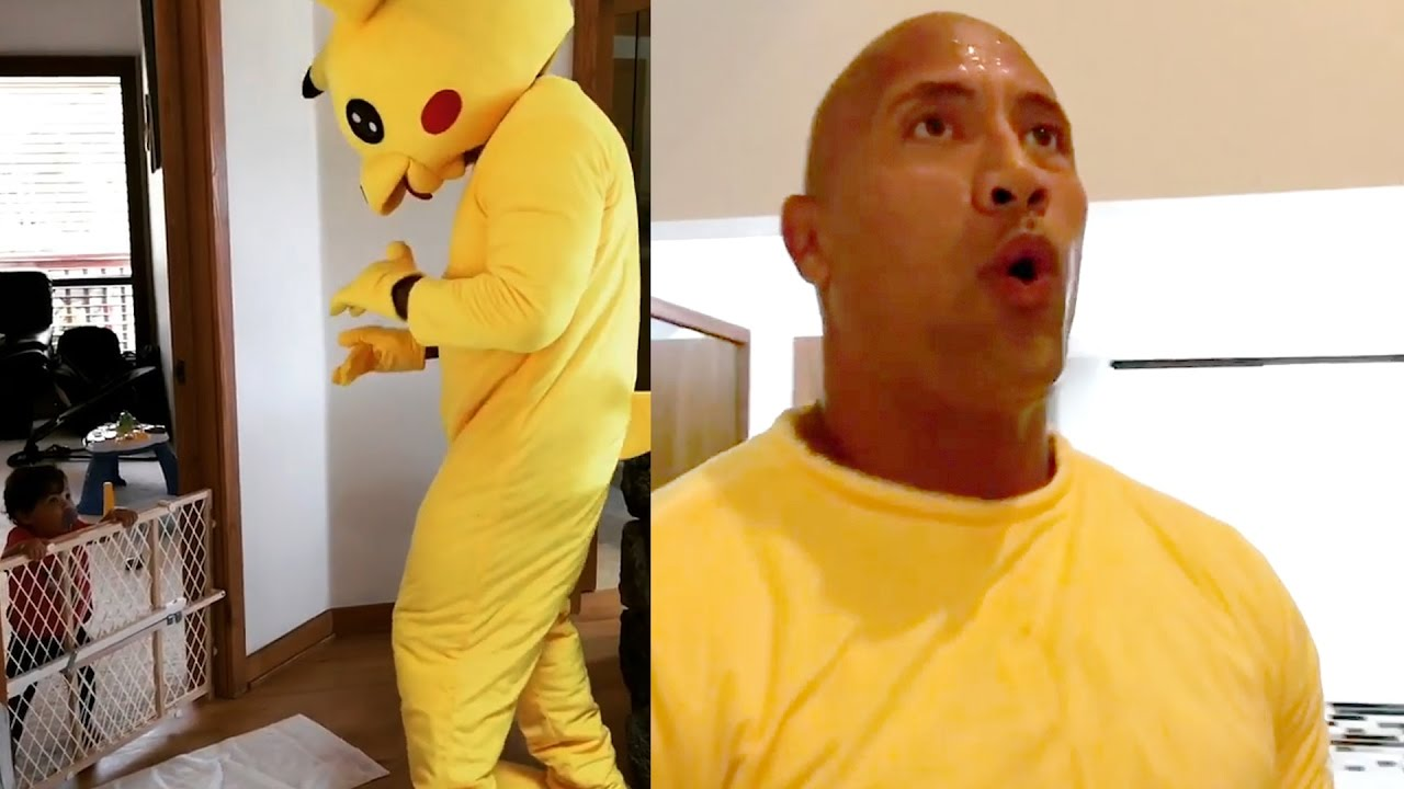 the rock' dances to 'juju on that beat' in pikachu costume - youtube
