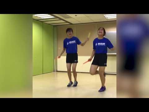 Girls Do Chinese Wheel Jump Rope Trick