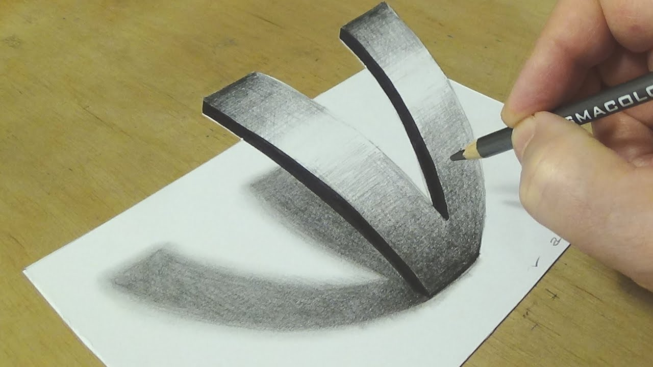 Very Easy Drawing Letter V - How to Draw 3D Letter V - Trick Art ...