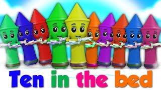 Lápis De Cera Dez Na Cama | Rimas De Berçário | Números 1 A 10 | Crayons Ten In The Bed| Kids Songs