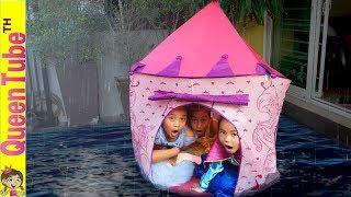 พายุถล่ม!! ปราสาทเจ้าหญิง วิธีเอาตัวรอดจากพายุ Kids Pretend Play Storm Survival in Princess Castle