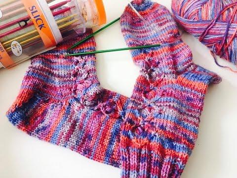 2 Socken gleichzeitig stricken – anschlagen und das Bündchen stricken