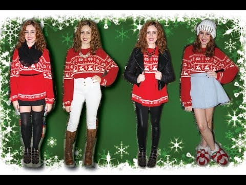 Christmas Sweater Outfit Ideas || Lucykiins - YouTube