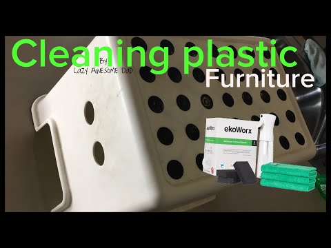 How to clean plastic furniture chair stool table with KOH / ekoWorx toxic/fume free - EASY