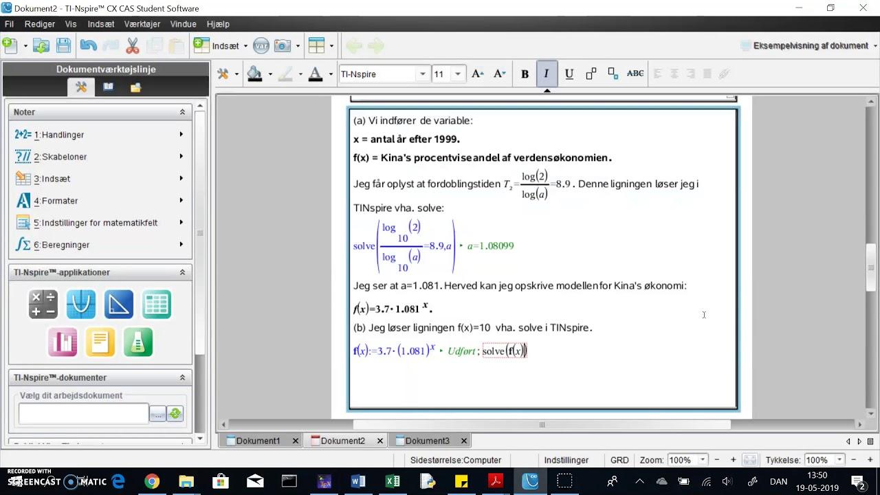 TINspire: eksponentiel model. Beregn x når y er givet (eksempel 2 - del2)