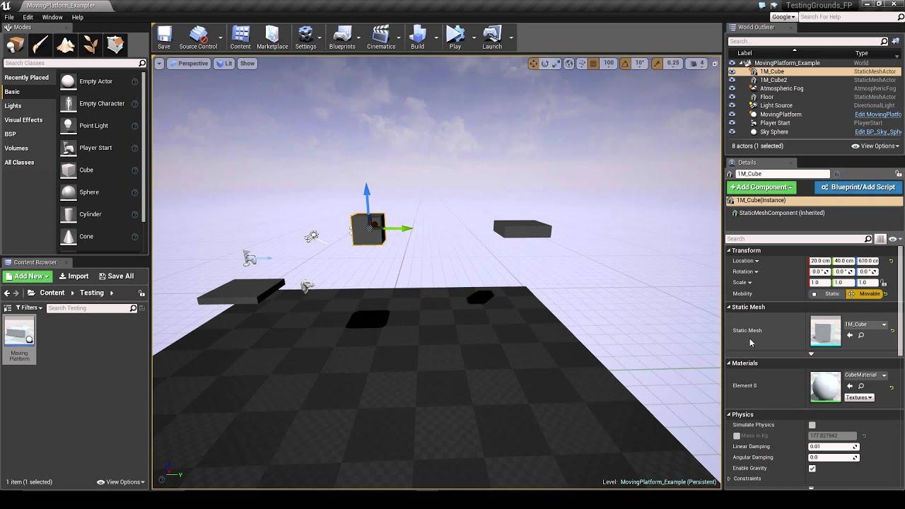 Ue4 moving platform blueprint youtube ue4 moving platform blueprint malvernweather Choice Image