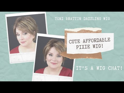 WIG CHAT! CUTE AFFORDABLE PIXIE WIG / TONI BRATTIN DAZZLING WIG in BROWN BLONDE / Cute Summer Wig