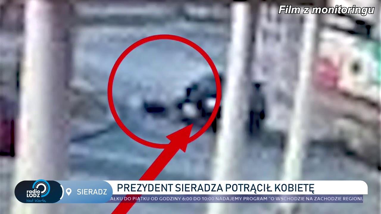 Prezydent Sieradza potrącił kobietę na parkingu. Nagranie z monitoringu