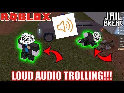 LOUD AUDIO TROLLING in Roblox Jailbreak!!!