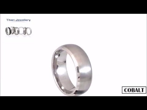 8mm Brushed Court Cobalt Wedding Ring with Polished Edges