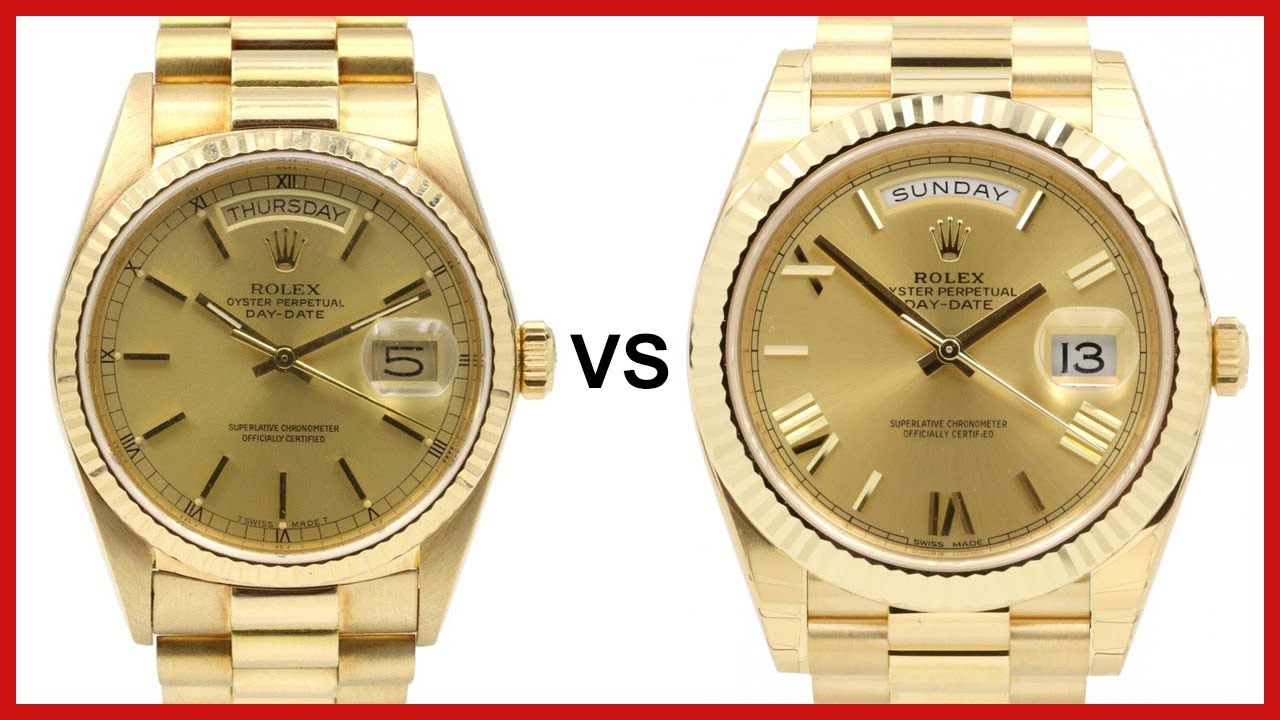 05e0fabc782 OLD Day-Date 36 vs NEW Day-Date 40 - ROLEX COMPARISON - YouTube