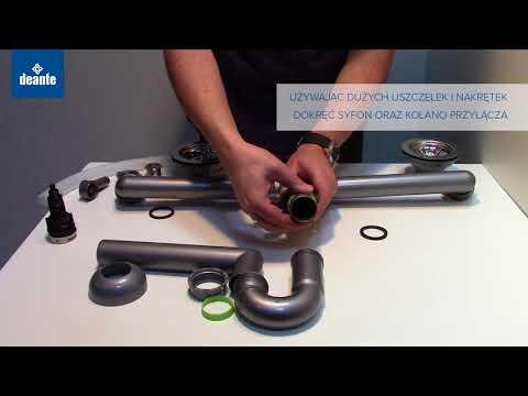 Syfon do zlewozmywaków granitowych 1,5 i 2-komorowych montaż - Deante