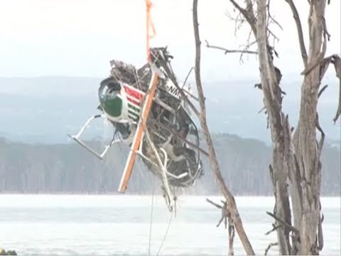 Wreckage of helicopter retrieved from Lake Nakuru after 30 days of searching