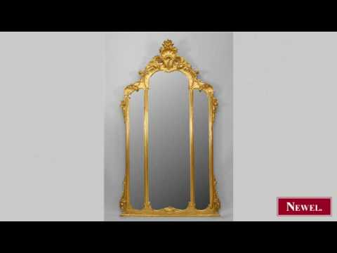 Antique French Victorian gilt wood 3 panel wall mirror