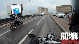 BMW S1000R accidental filtering ride with a BMW HP2 Enduro