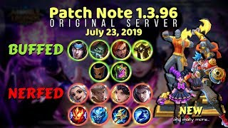 Be Updated! MOBILE LEGENDS LATEST PATCH NOTE 1.3.96 (July 2019) New Update
