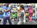 Floyd Mayweather Sr. shows off his speed to amateur Fe 'Epenisa