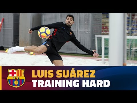Luis Suárez in action last week getting ready for the return of La Liga