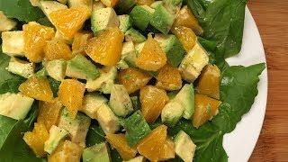 Постный салат с авокадо и апельсином