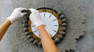 Reusing clocks from cement and leaves | Great creative to change your home space