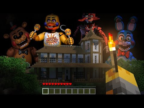FIVE NIGHTS AT FREDDY'S ANIMATRONICS APPEAR IN OUR ZOMBIE HOUSE !! HOUSE SURVIVAL !! Minecraft Mods
