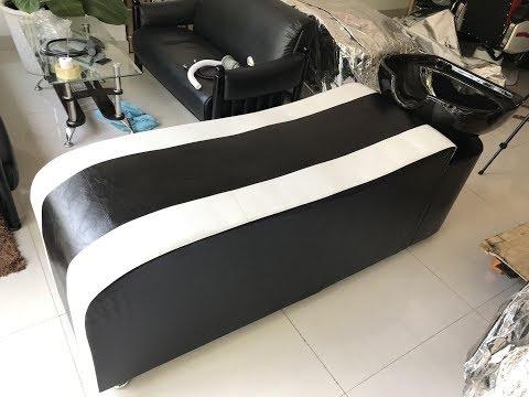 Giường gội gỗ bọc da Barber BG-52V - Nội thất salon tóc cao cấp
