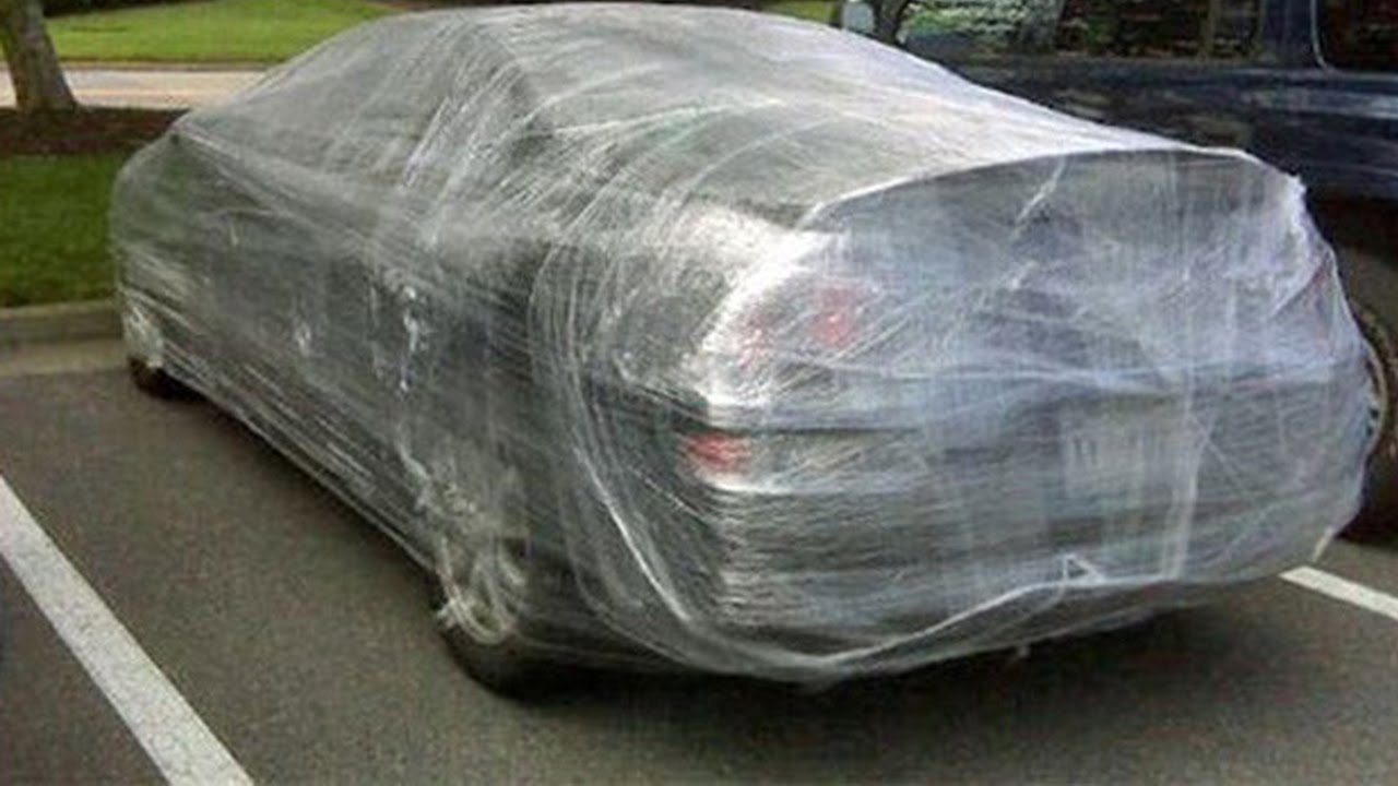 Saran Wrap Car: PLASTIC WRAP CAR PRANK