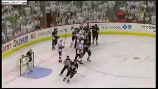 Andy Sutton takes out Jordan Leopold - 2010 NHL Playoffs Round 1