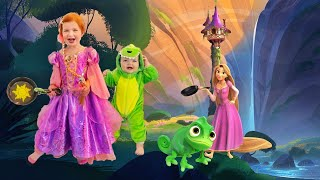 PRINCESS RAPUNZEL pretend play tangled with Mystery Guest Baby brother