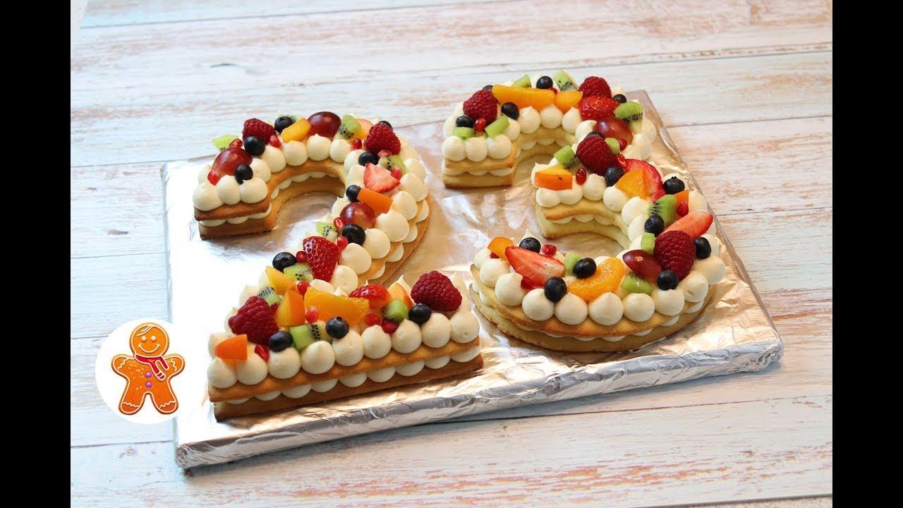Торт на 23 Февраля Торт Цифра Буква Cream Tart - YouTube