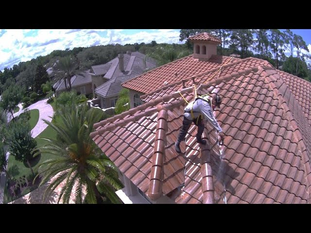 Large Tile Roof Cleaning - DRONE footage
