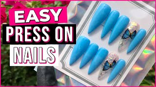 How To Custom Make Press-On Nails   Butterfly Press On Nails   DIY Press On Nails