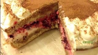 Торт Тирамису с вишней и сливочно-сырным кремом