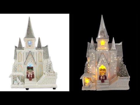 Led Amp Fibre Optic White Resin Church The Christmas