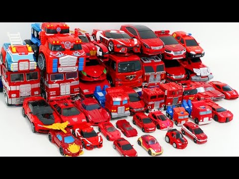 Thumbnail: Red Color Transformers HelloCarbot Tobot Miniforce 40 Vehicle Transformation Robot Car Toys