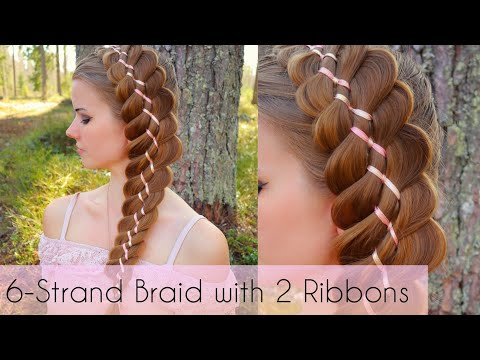 6-strand-braid-with-2-ribbons-|-intricate-braids-|-how-to-hair-diy
