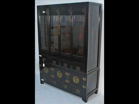 Beau Antique Chinese Black Lacquered Bookcase Or China Cabinet _bk0016y.wmv