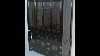 Antique Chinese Black Lacquered Bookcase or China Cabinet _bk0016y