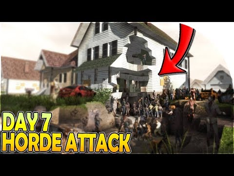 DAY 7 HORDE BASE ATTACK in 7 Days to Die Alpha 17 Gameplay S2 Part 12