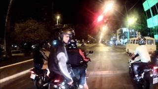 Fazer 250 - GoPro2 - Rolê a noite em Patos de Minas até acabar a bateria da câmera