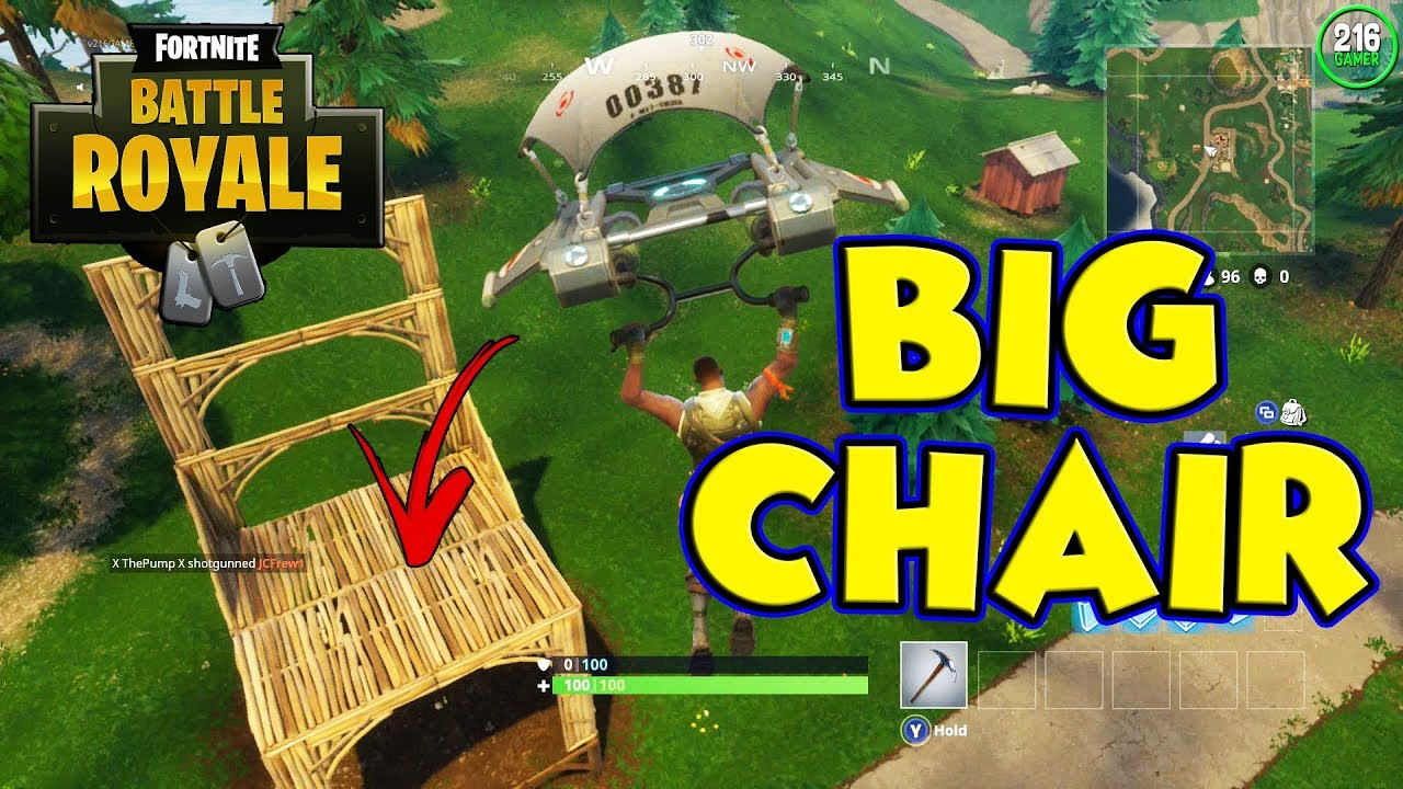 landing at the big chair in fortnite battle royale new map