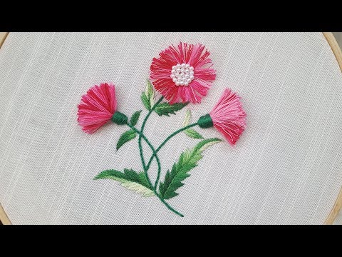 tassel stitch | hand embroidery | unique flower embroidery design