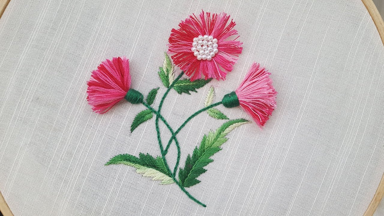 Tassel Stitch Hand Embroidery Unique Flower Embroidery Design